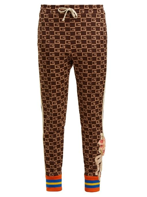 dce56673a Gucci GG-jacquard mid-rise jersey trousers | Fashion in 2019 | Gucci ...
