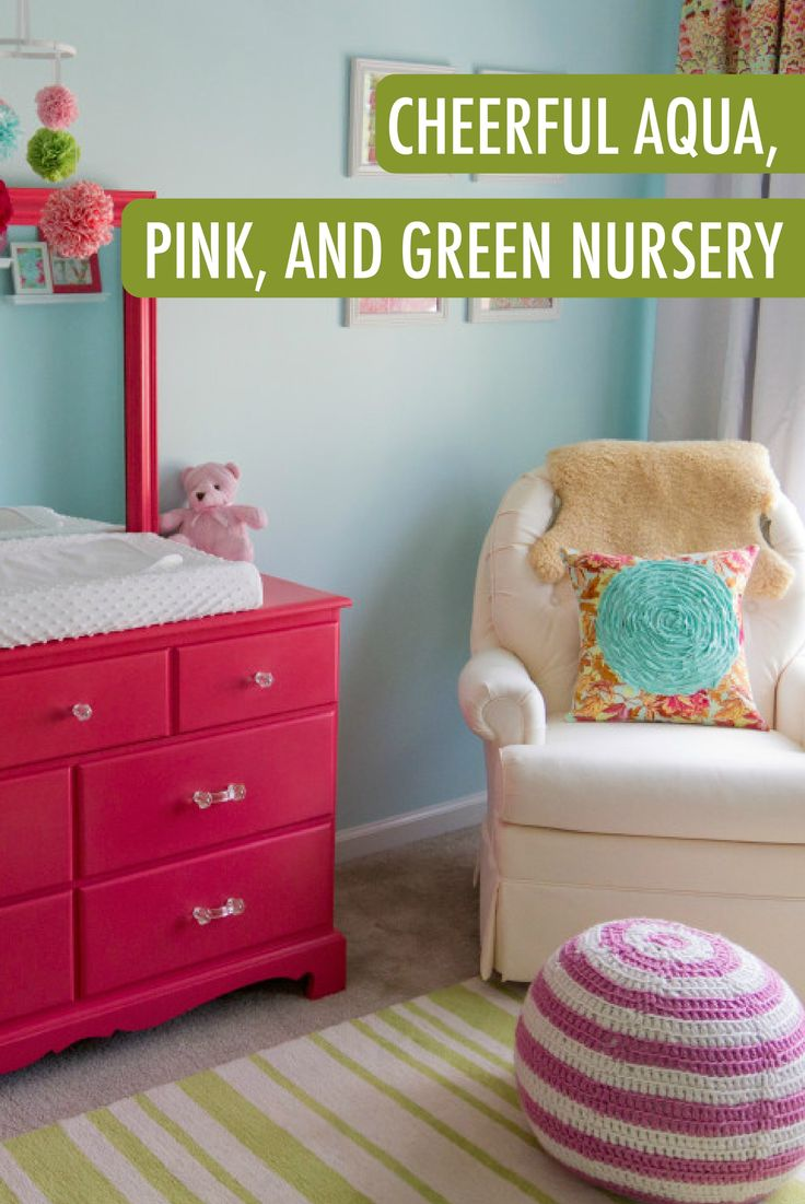 baby p 39 s cheerful aqua pink and green nursery nurseries pink green nursery nursery. Black Bedroom Furniture Sets. Home Design Ideas