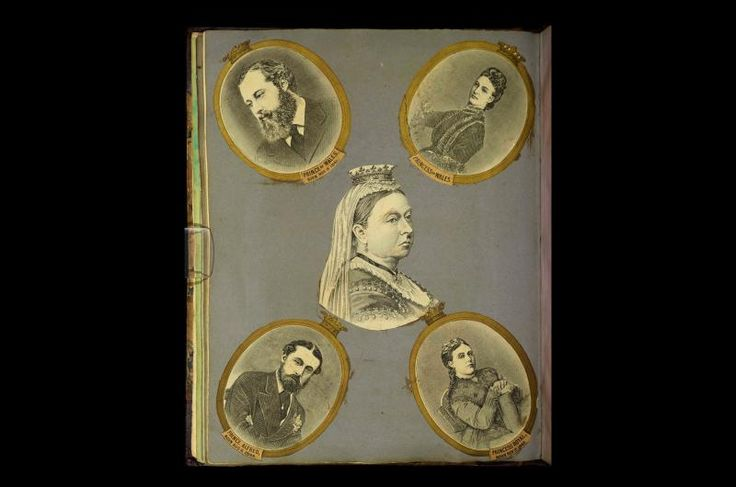 Pictures of Queen Victoria and her family in a scrapbook dating from around 1865 belonging to TB Evans