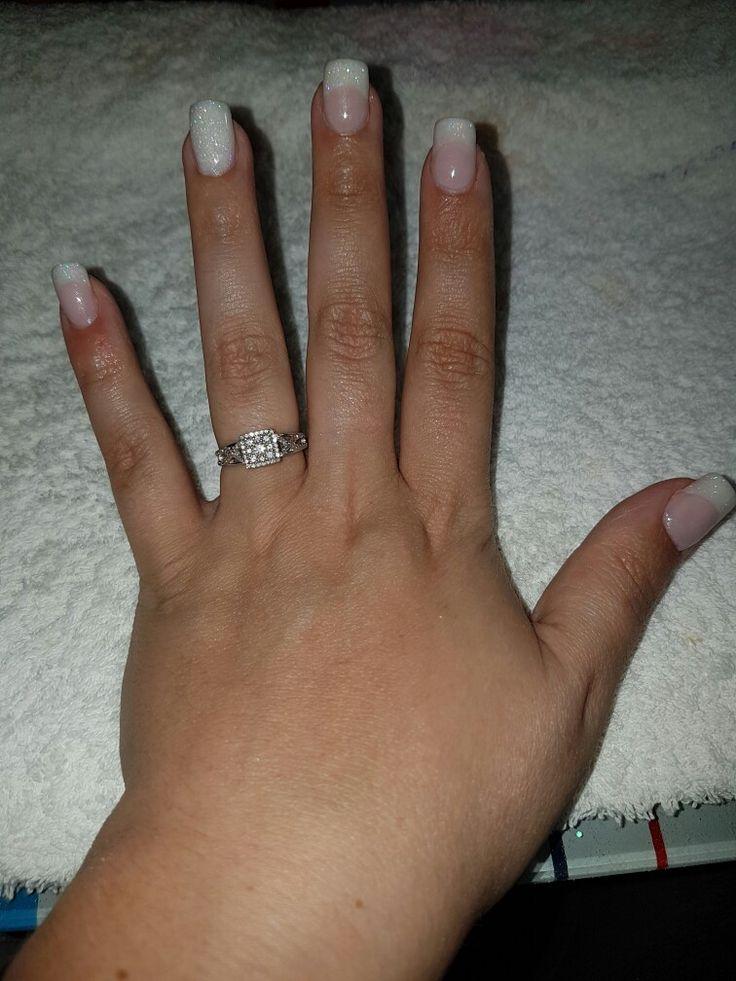 Gorgeous French!!!!!  Wedding nails White glitter acrylic ring finger.  Beautiful design