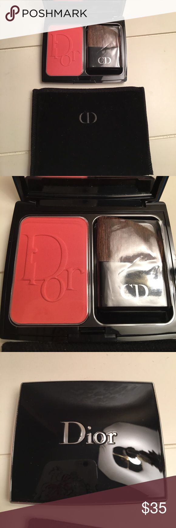 Dior Blush. Brand new condition. Never used. Color is new red. Plastic liner covering blush plus brush still has plastic sleeve on. Comes in velvet dust bag. I don't have the box. Dior Makeup Blush