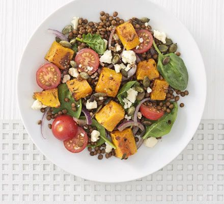 Warm roasted squash and Puy lentil salad. This fresh and vibrant salad makes use of tinned lentils, a store cupboard staple. The result is filling, low-fat and contains all of your five-a-day.