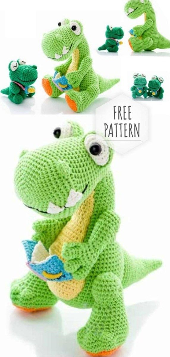 Crochet Amigurumi Dinosaur Free Patterns - Cool Creativities | 1200x572