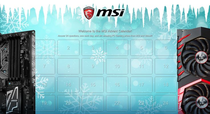 Check out this MSI Advent Calender Answer 24 questions and win awesome PC Gaming prizes from MSI and Ubisoft.