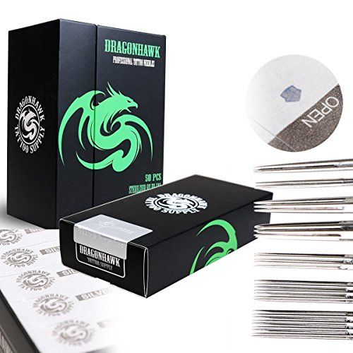 Dragonhawk Silver Series Tattoo Needles Assorted Liners and Shaders 50 Pcs Disposable & Sterilized Mixed Size Tattooing Needle Box YBZ  VARIETY MIX - 50Pack includes 5RL, 7RL, 9RL - 5M1, 7M1  SUPERIOR QUALITY TATTOO SUPPLIES - 304L stainless steel and clean soldering for optimal control & results  READY TO USE - pre-made, on the bar, single-use for your convenience and safety  Sealed Sterile - each Infinity needles has an EO gas proof strip indicator as seen on pitures for a safer envi...