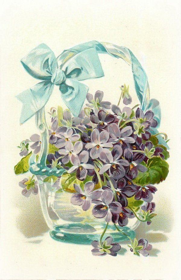 Днем, цветы ретро открытка