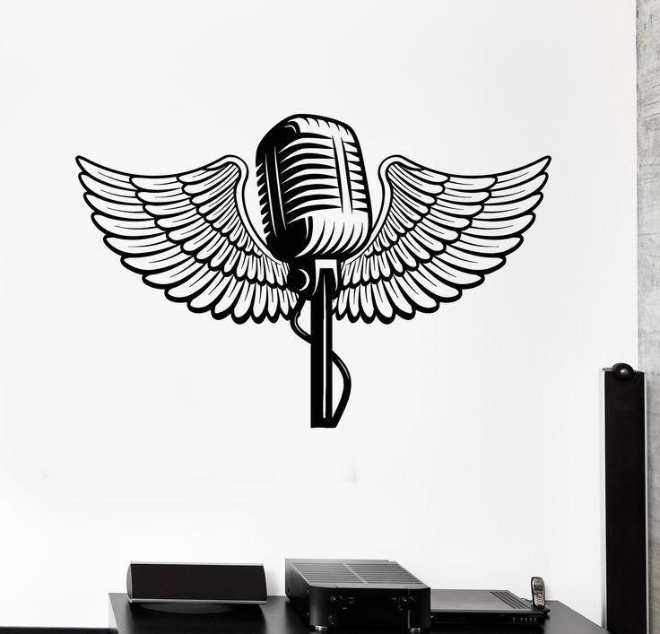 Vinyl Wall Decal Microphone Wings Music Karaoke Stickers (ig4466)