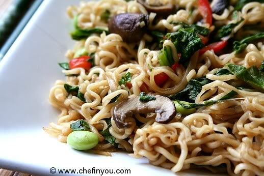 Lo Mein with Mustard Greens
