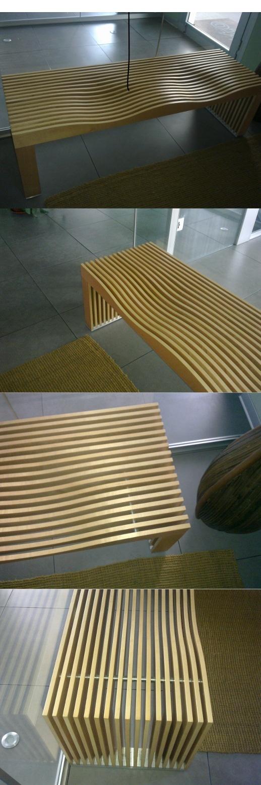 Una bella panca che si potrebbe anche costruire in casa.  A very original bench.
