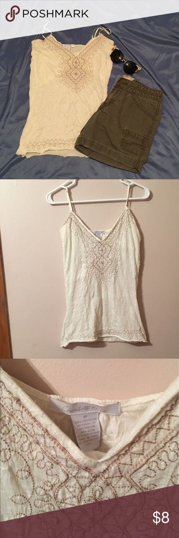 😻Medium Charlotte Rouse tank top Medium/ off white top with brown embroidery/ spaghetti strap Tops Tank Tops