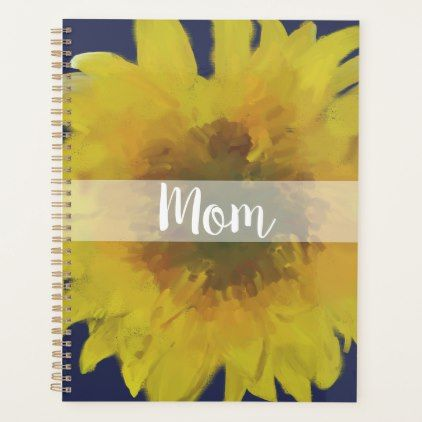 Mom Mum Mother Navy Sunflower Personalized Planner - floral style flower flowers stylish diy personalize
