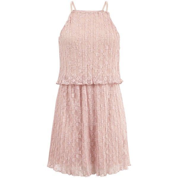 New Look Teens Mid Pink Lace Layered Slip Dress (£16) ❤ liked on Polyvore featuring dresses, mid pink, pink party dress, pink slip dress, pink day dress, going out dresses and lace slip dress