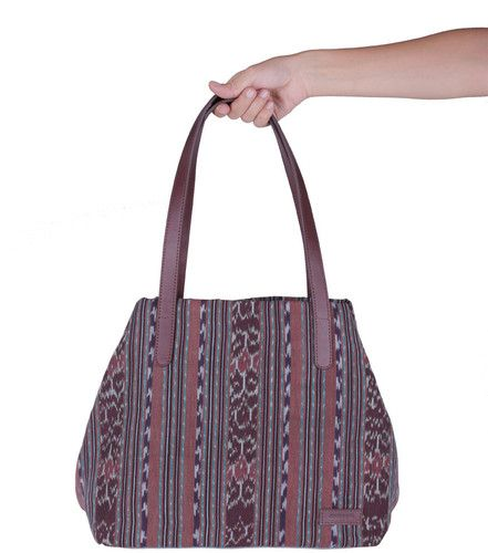 Blue Dorotea Tote Bag made from traditional indonesian textiles. $107 with FREE SHIPPING www.doroteagale.com