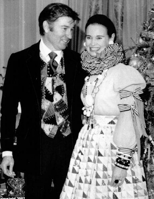 Gloria Vanderbilt and Wyatt Cooper (Anderson Cooper's father) in a dandy vest! These clothes were hideous I don't care how much they cost. She brought out a line of designer denim jeans