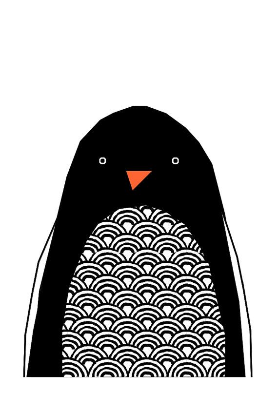 Hello Penguin Print van IngridPetrieDesign op Etsy ❥