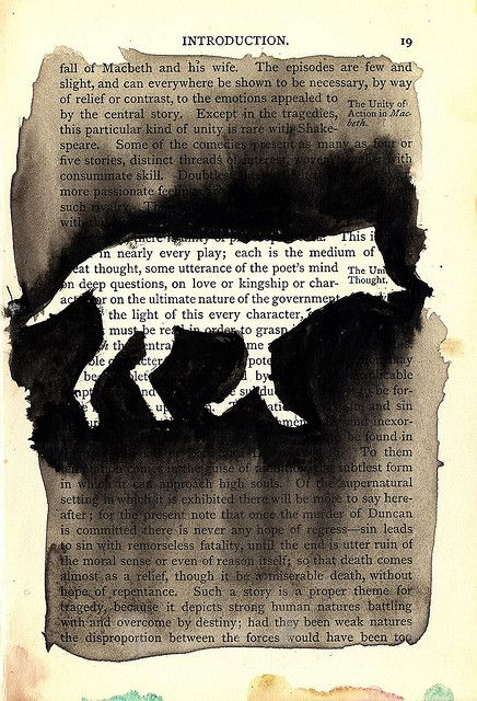 Method of altering books - kind of a reverse stencil highlight (inspiration)  ************************************************ McCall Johnson, via Flickr - #altered #book #crafts - tå√