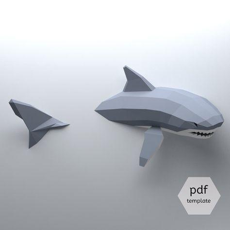 Modelo de bajo poli tiburón, tiburón de Papercraft 3D crear su propia, Origami Shark, tiburón blanco, tiburón amante, semana del tiburón, colgante de pared