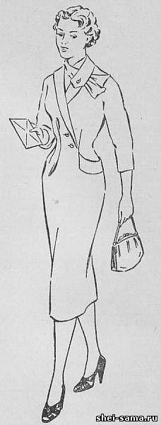 Асимметричное платье с цельнокроенным шалевым воротником - Сто фасонов женского платья - Всё о шитье