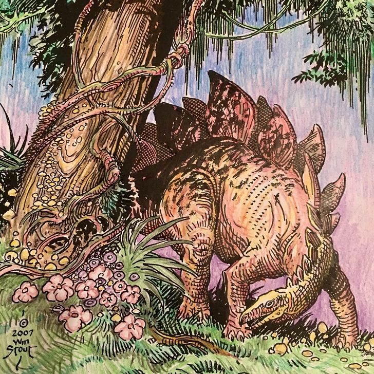 Colored Pages From Dinosaurs A Coloring Book By William Stout