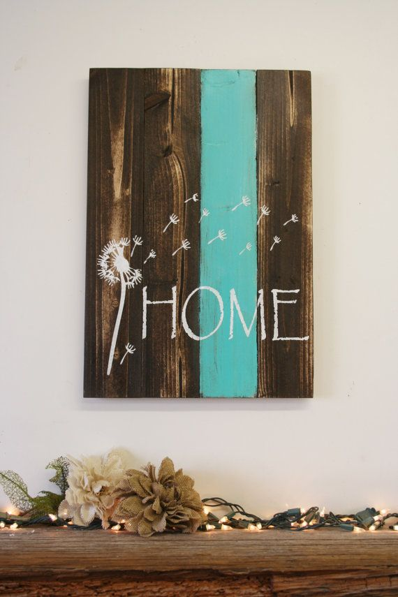 Home Pallet Sign Dandelion Sign Rustic Home Decor Country Home Decor Shabby Chic…