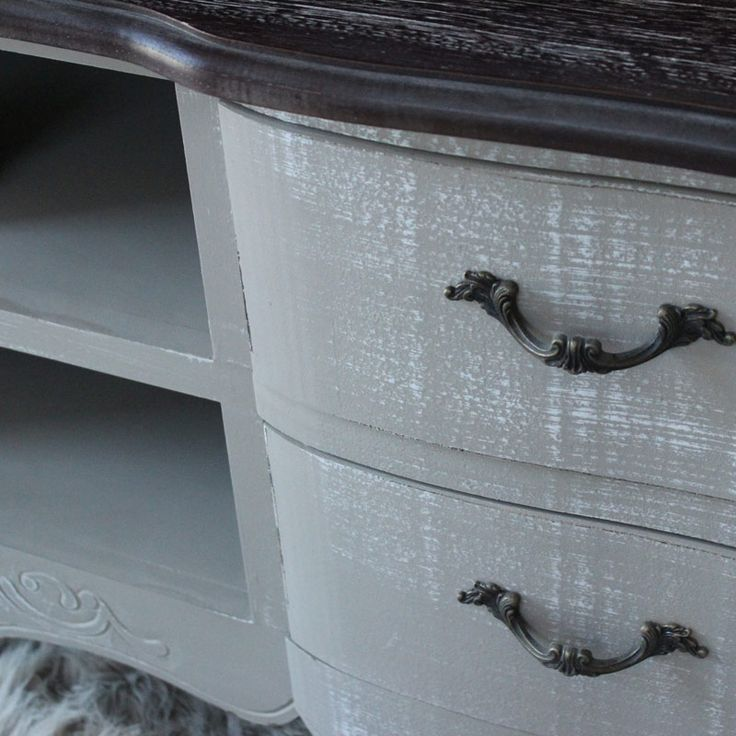 French Grey Range - Large TV Cabinet with Drawers An exquisitely beautiful French grey television cabinet