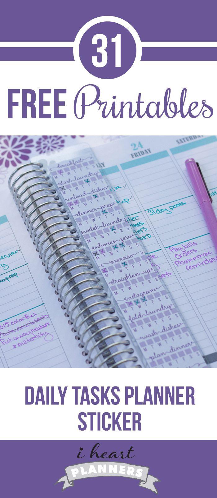 Livre de impressão de impressão lista de verificação diária para os planejadores de vida. Eu usá-lo em um indicador Erin Condren que se encaixa perfeitamente na minha agenda Papel Plum.
