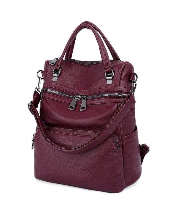 18ef175f9eeb LARGE SIZE-Women Backpack Purse PU Washed Leather Ladies Rucksack ...