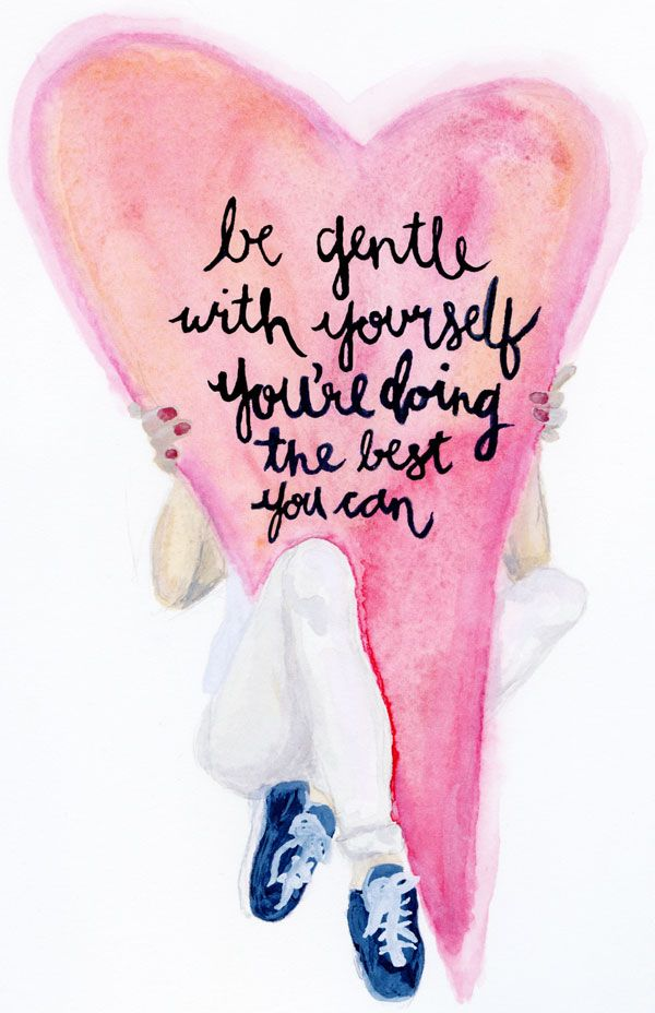 For those funny moments… be gentle with yourself. Inspirational quote #Watercolor by Striped Cat Studio for Glitter Guide