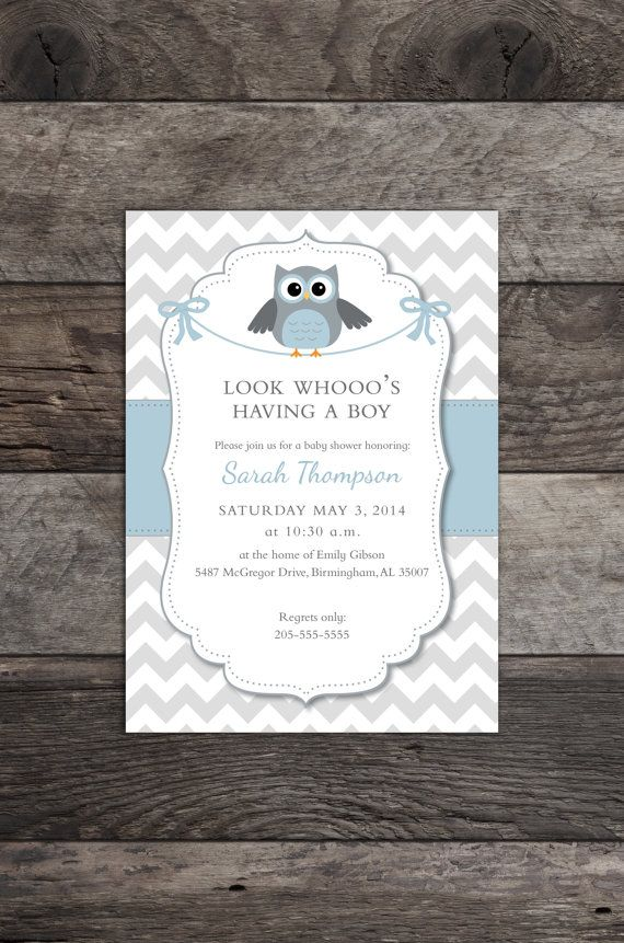 Owl Theme Baby Boy Shower Invitation Blue Gray by MadAnthonyWaynes, $10.00