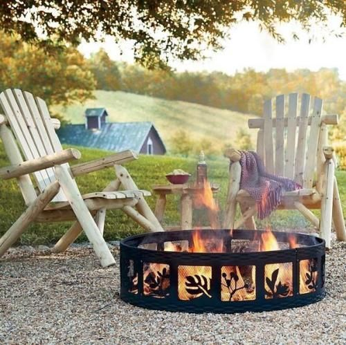 An adorable fire ring design for a cozy rustic setting