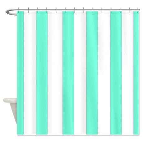 aqua stripes shower curtain on