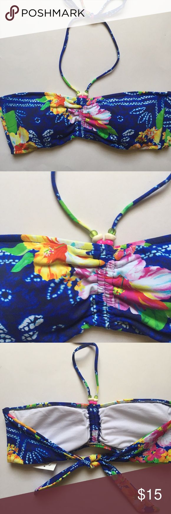 NWT Ralph Lauren floral bandeau top Fun beads at the base of the halter ties, removable pads and side wires for extra support; goes well with many solid color bottoms ( see last pic for suggestion) ; this listing is for the top only - bundle and save! Polo by Ralph Lauren Swim