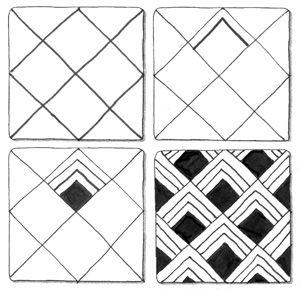 """Suzanne McNeill's Zentangle """"Corner Box"""" i.e. Official zentangle """"Flukes"""""""