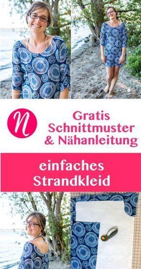 Einfaches Strandkleid für Damen - Kostenloses Schnittmuster Gr. S - XL. Für Anfänger geeignet. Nähtalente - Magazin für kostenlose Schnittmuster. - Free sewing pattern for an easy beach cover up. Size S - XL