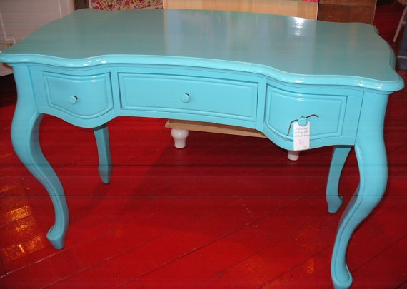 Pretty vanity table in one of my fav colors! Turquoise desk by furnituresalad