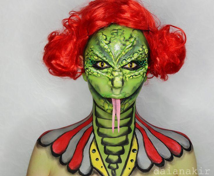 Freak show reptile halloween makeup idea halloween costume for Tattoo freak costume