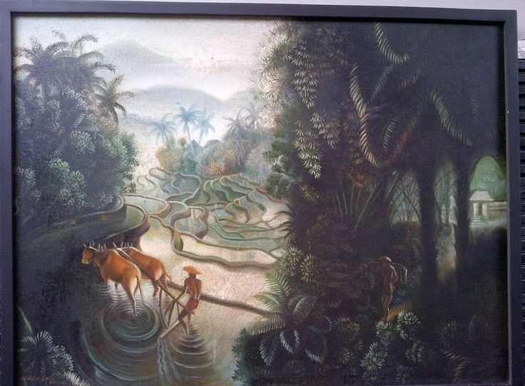 For sale   Plowing in Bali, repro of Walter Spies, oil on canvas, 60 x 80 cm, Price : Call