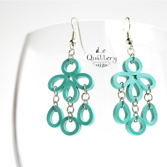 Teal Chandelier Filigree Earrings - Handmade Paper Quilling Jewelry by LeQuillery, $16.50