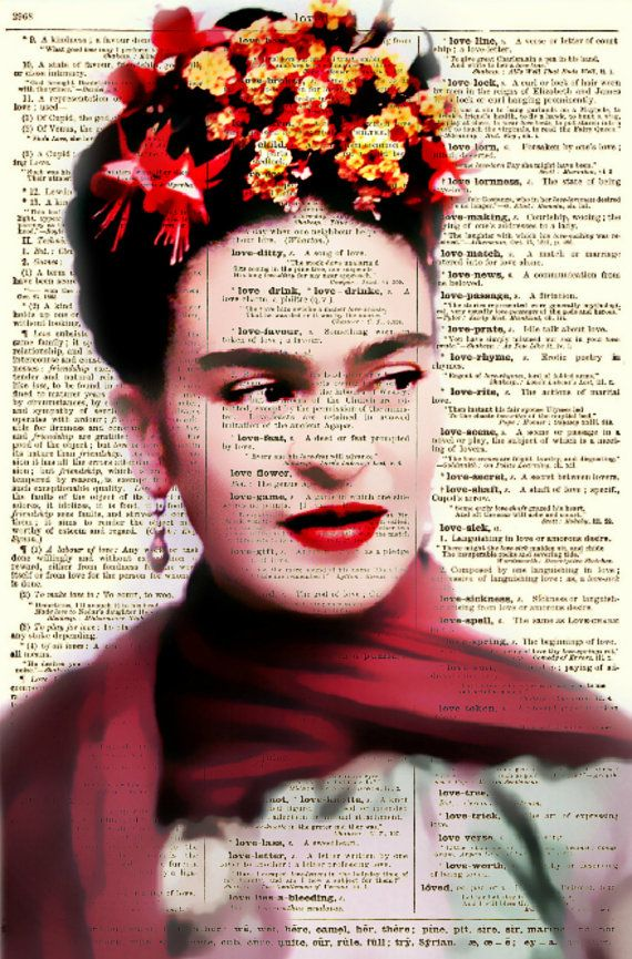 Frida Kahlo Art Print Frida Kahlo with flowers on 1897 dictionary page by reimaginationprints, $10.00