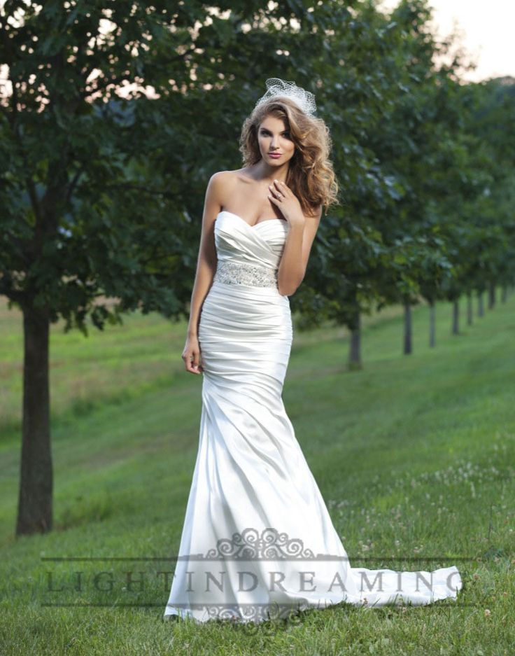 Strapless Ruched Sweetheart Wedding Dress with Pleated Skirt