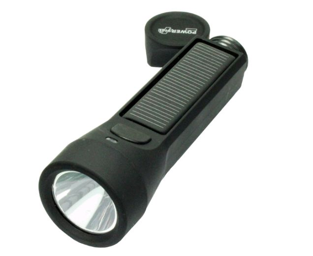 Salamander - połączenie wodoszczelnej latarki solarnej 3W i powerbanku 2400mAh. / Solar powered LED flashlight 3W with 2400mAh powerbank. PLN89.99/ $24