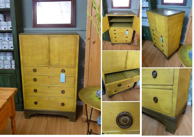 Beautiful reproduction Georgian tallboy painted with Annie Sloan 'English Yellow' and 'Olive' with dark wax at www.facebook.com/helstonfurniture