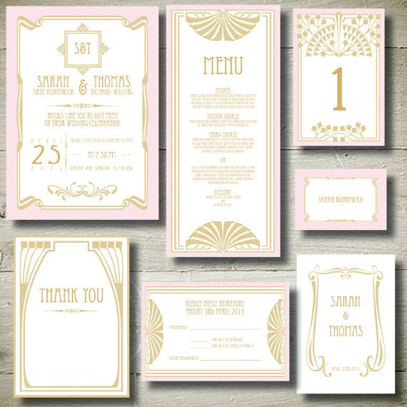 GREAT GATSBY- personalised invitation printable party package on Etsy, $40.00