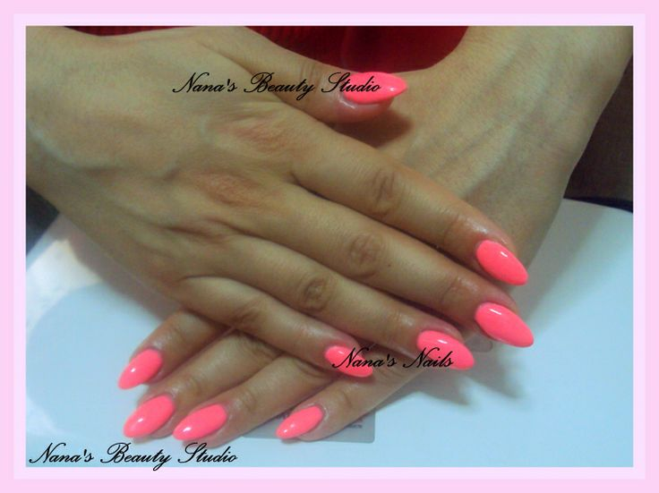 Almond Gel Nails Shocking Pink