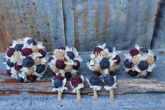 Navy and Wine burlap wedding bouquet / maroon and by GypsyFarmGirl