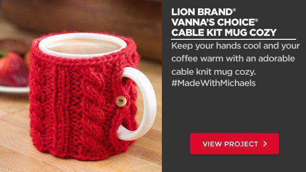 Lion Brand Vanna's Choice Cable Knit Mug Cozy