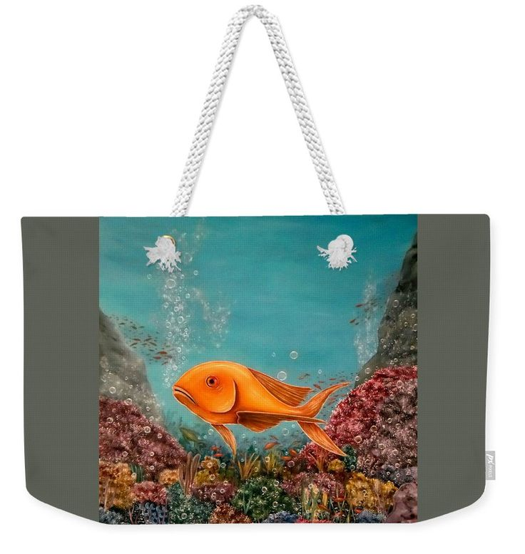 Weekender Tote Bag,  blue,grey,colorful,multicolor,cool,beautiful,fancy,unique,trendy,artistic,awesome,fahionable,unusual,accessories,for,sale,design,items,products,gifts,presents,ideas,fish,underwater,scene