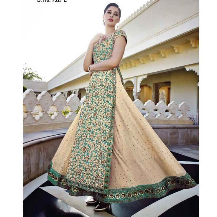 Nargis Fakhri Green and Beige Georgette #Anarkali Suits- $168.81