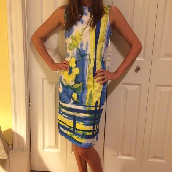 HOST PICK - Watercolor Dress  Gorgeous multicolor dress with watercolor type pattern. Never worn. Dresses