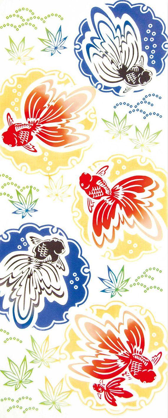 Japanese Tenugui Towel Cotton Fabric, Kawaii Goldfish, Maple, Water Surface, Hand Dyed Fabric, Modern Art Wall, Home Decor, Gift Idea, k182